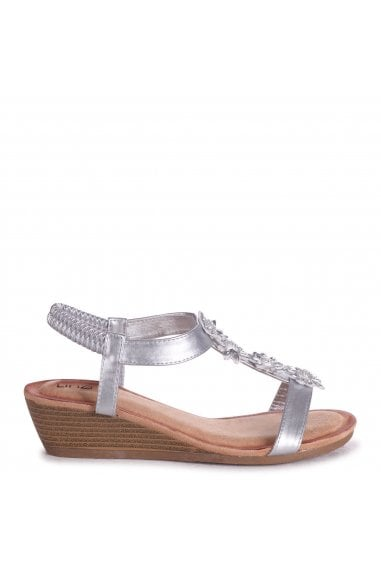 FLOWER - Silver Metallic Wedges Sandal With Floral Embellishment & Padded Footbed