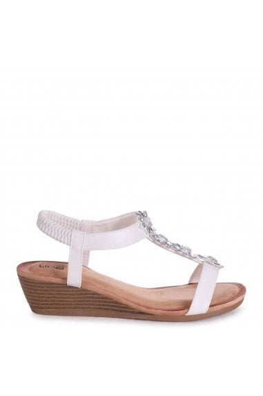 FLOWER - White Nappa Wedges Sandal With Floral Embellishment & Padded Footbed