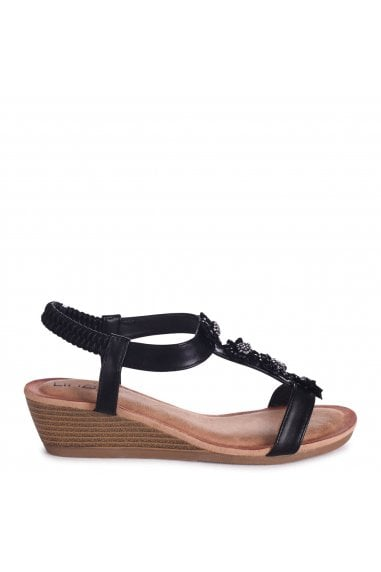 FLOWER - Black Nappa Wedges Sandal With Floral Embellishment & Padded Footbed