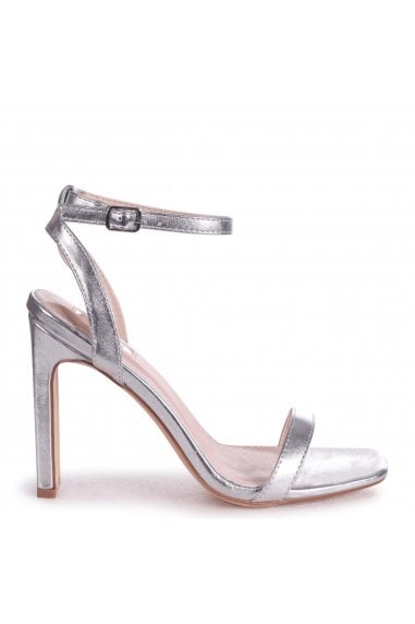BOBBIE - Silver Metallic Slim Heeled Sandal With Square Toe