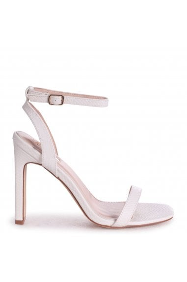BOBBIE - White Lizard Slim Heeled Sandal With Square Toe