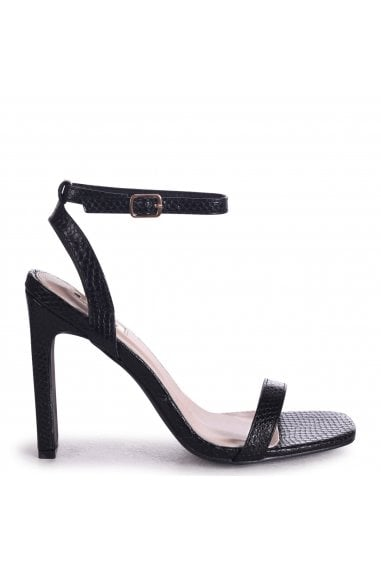 BOBBIE - Black Lizard Slim Heeled Sandal With Square Toe