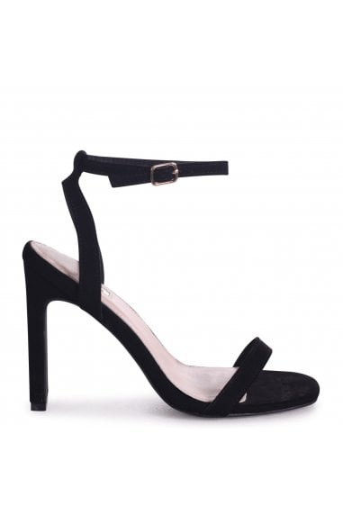 BOBBIE - Black Suede Slim Heeled Sandal With Square Toe