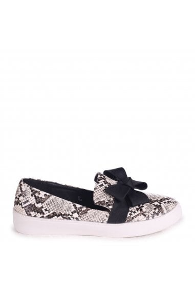 CHIC - Natural Snake Classic Slip On Skater with Organza Bow Front Detail