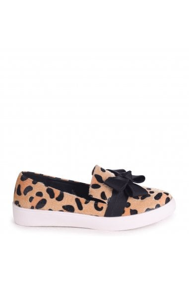 CHIC - Leopard Faux Pony Classic Slip On Skater with Organza Bow Front Detail