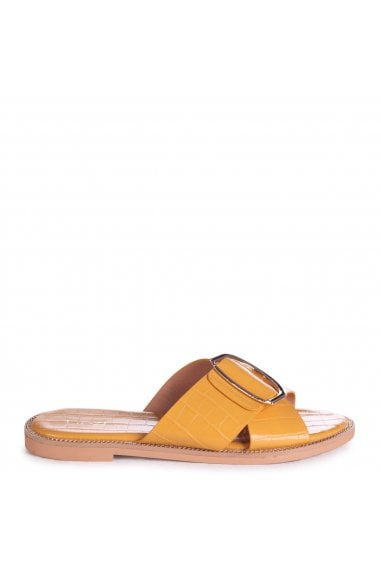 VEGAS - Yellow Croc Slip On Slider With Crossover Front Strap & Giant Buckle Detail