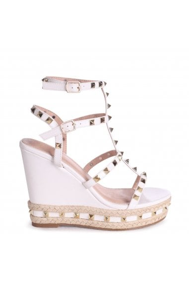 SHANON - White Nappa Wedge With Studded Detail, Ankle Strap & Rope Trim