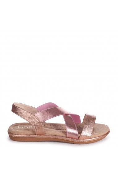 COSMO - Rose Gold Elasticated Sandal With Padded Footbed