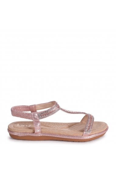 CHARLINE - Rose Gold Sandal With Padded Footbed & Diamante T-Bar