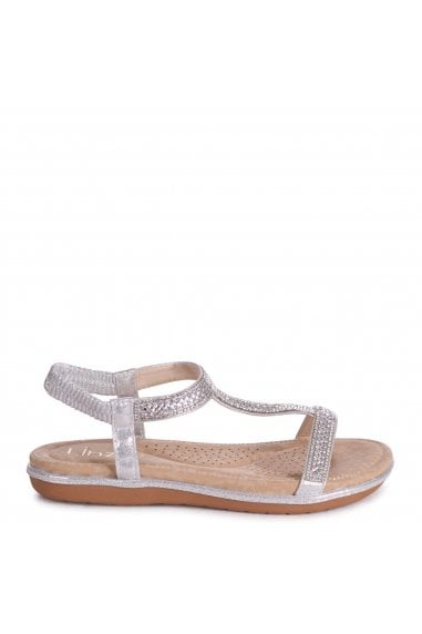 CHARLINE - Silver Sandal With Padded Footbed & Diamante T-Bar