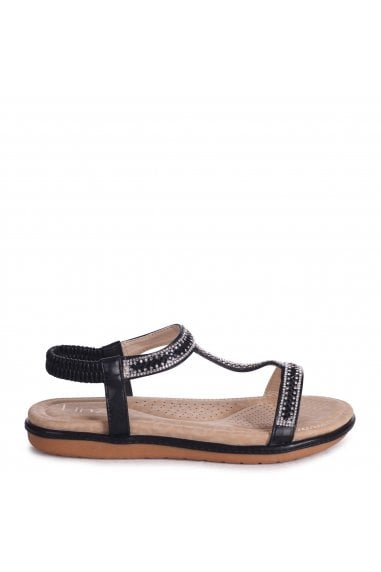 CHARLINE - Black Sandal With Padded Footbed & Diamante T-Bar