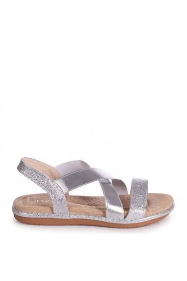 COSMO - Silver Elasticated Sandal With Padded Footbed