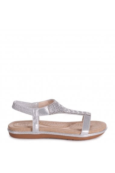 MAY - Silver Nappa Sandal With Padded Inner & Diamante Front Detail