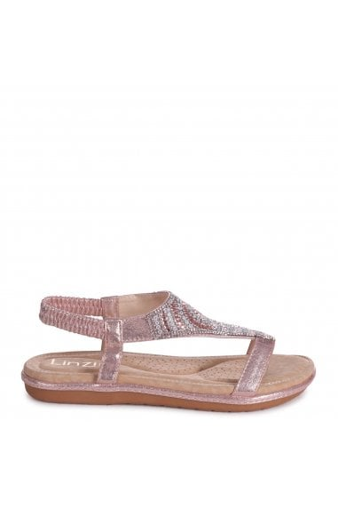 MAY - Rose Gold Nappa Sandal With Padded Inner & Diamante Front Detail