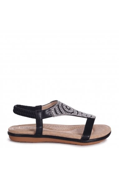 MAY - Black Nappa Sandal With Padded Inner & Diamante Front Detail