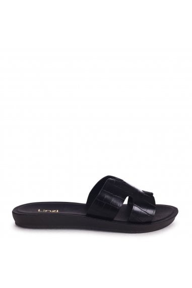 GREECE - Black Croc Slip On Slider With Link Shaped Front Strap
