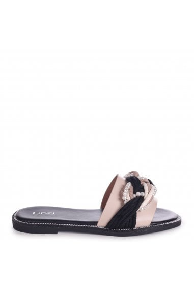LEETA - Black & Beige Slip On Slider With Plaited Rope & Pearl Front Strap