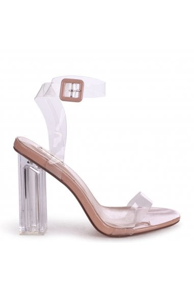 JOSLIN - Nude All Over Perspex Heel With Glass Block Heel
