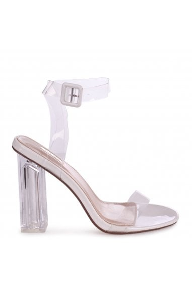JOSLIN - White Patent All Over Perspex Heel With Glass Block Heel