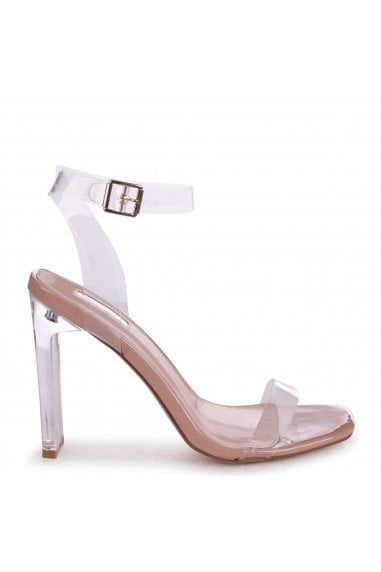 EVIE - Nude Patent All Over Perspex Slim Heeled Sandal With Square Toe
