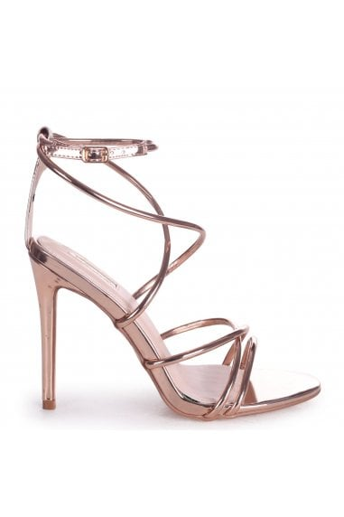 DIVINE - Rose Gold Strappy Stiletto Heel With Ankle Strap