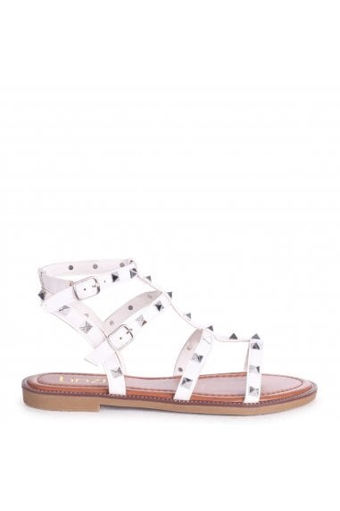 BILLIE - White Studded Gladiator Sandal With Embellished Sole