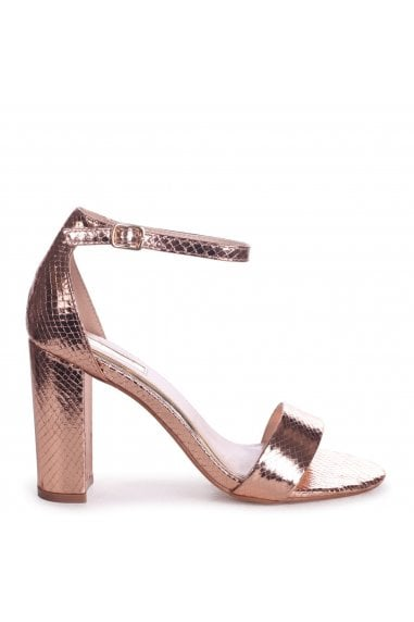 NELLY - Rose Gold Lizard Single Sole Block Heel