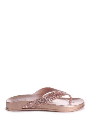 FARAH - Rose Gold Glitter Toe Post Style Sandal