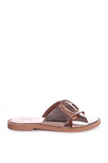 VEGAS - Rose Gold Slip On Slider With Crossover Front Strap & Giant Buckle Detail