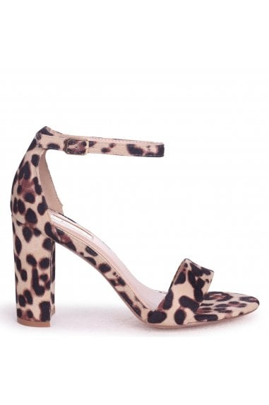 NELLY - Natural Leopard Suede Single Sole Block Heel