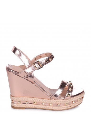 CARMEN - Rose Gold Wedge With Mixed Studded & Diamante Detail With Rope Trim