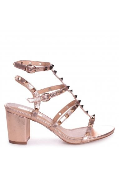 TESSA - Rose Gold Studded Block Heeled Sandal