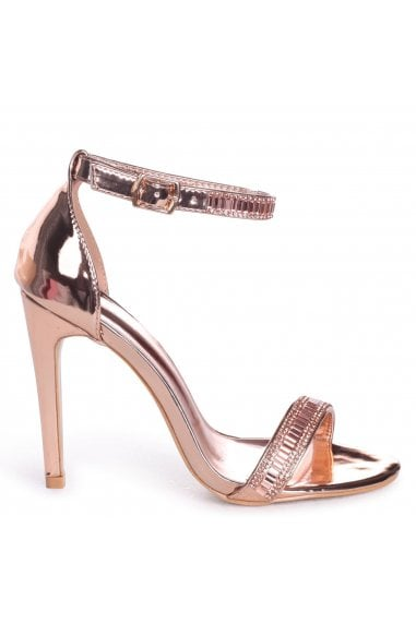 ANITA - Rose Gold Stiletto Heel With Diamante Front & Ankle Strap