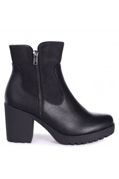 LAUREL - Black Nappa Heeled Ankle Boot