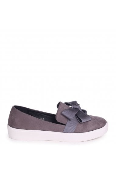 CHIC - Grey Suede Classic Slip On Skater with Organza Bow Front Detail