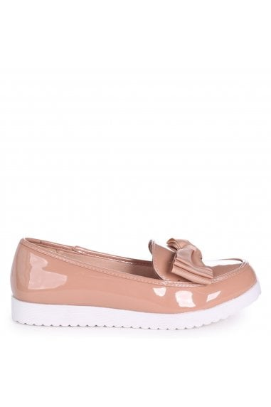 CARRI - Nude Patent Chunky Slip On Shoe with Fabric Bow