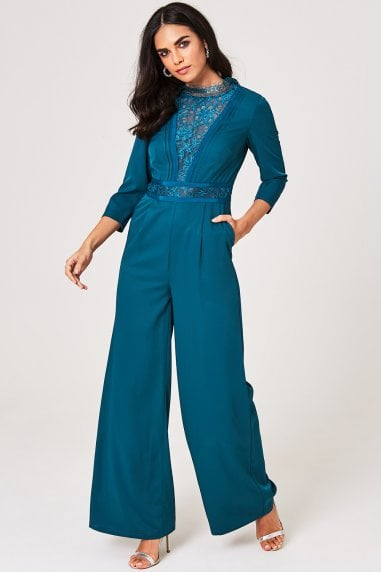 Anja Kingfisher Lace-Trim Jumpsuit