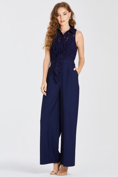 Drew Navy Lace Jumpsuit