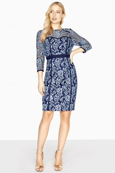 Vichy Two Tone Lace Binding Dress