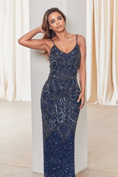Special Edition Jessica Rose Flory Navy Beaded Maxi Dress
