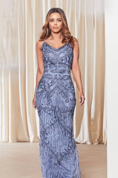 Flory Blue Embroidered Maxi Dress