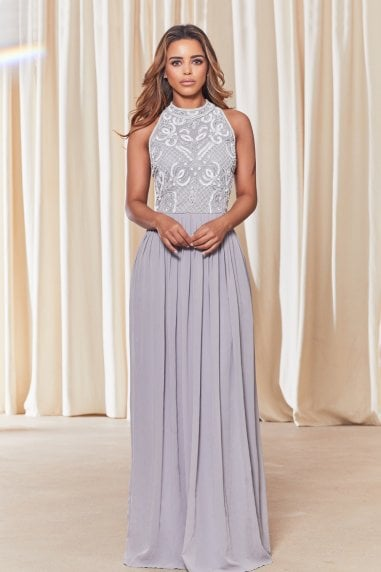 Luna Grey Embellished Halter Neck Maxi Dress
