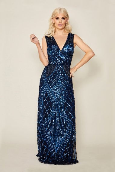 Memo Blue All-Over Embellished Sleeveless Maxi Dress