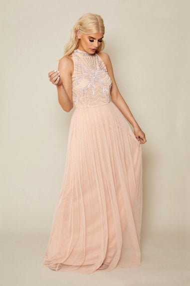 Hailty Pink Embroidered Chiffon Maxi Dress