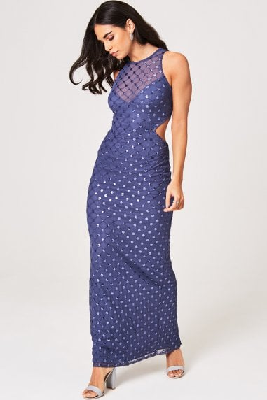 Anaïs Lavender Grey Sequin Maxi Dress
