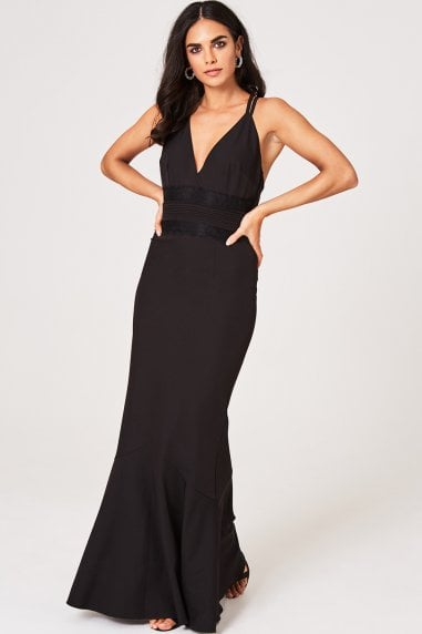 Valerie Black Lace-Trim Plunge Maxi Dress