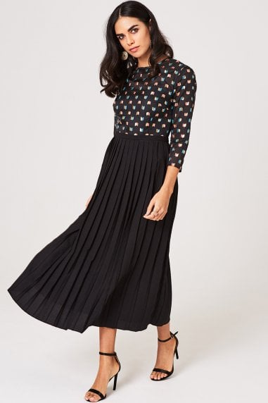 Jemima Black Geo Embroidery Pleated Midaxi Dress