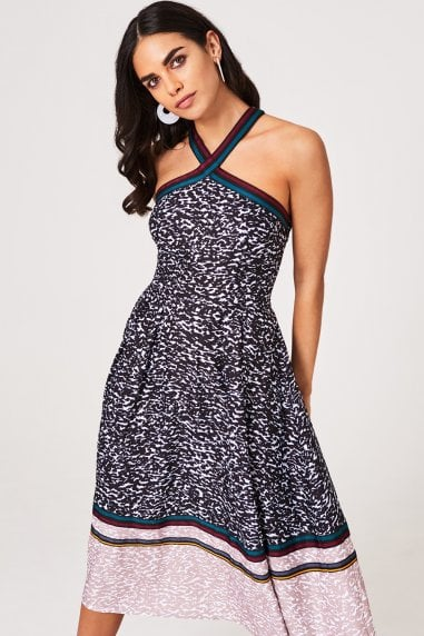 Sylvia Animal-Print and Grosgrain Midi Dress