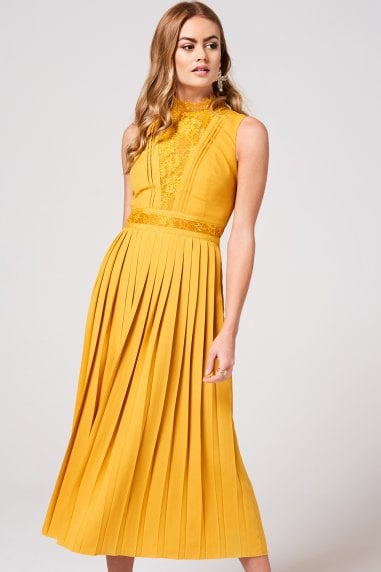 Penelope Spice Gold Lace-Trim Midaxi Dress