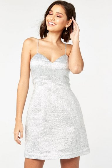 Silver Glitter Jacquard Mini Skater Dress